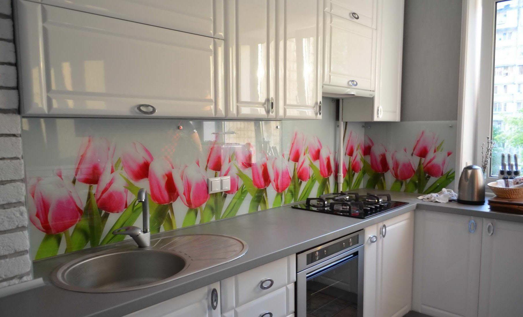 Фото фартук на кухню цветы